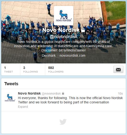 Novo Nordisk Artık Twitter'da