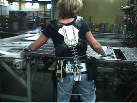 Lumbar Motion Monitor on Factory Employee
